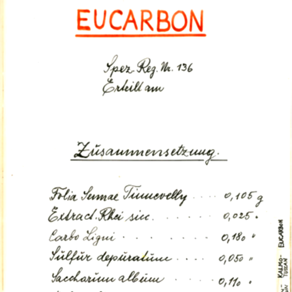 Eucarbon History - registration form 1950